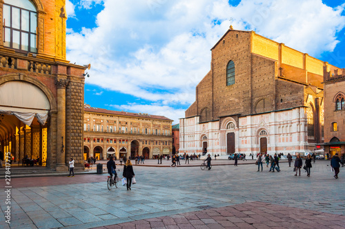 San Petronio church in the Piazza Maggiore in Bologna, Italy Canvas Print