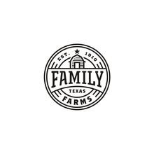 Vintage Barn Farm Label Stamp Logo Design
