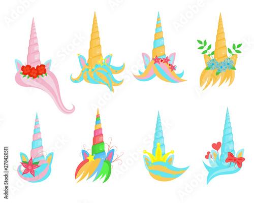 Photo Stands Illustrations Cartoon Color Unicorn Tiaras Sign Icon Set. Vector