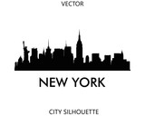 Fototapeta Nowy Jork - New York skyline silhouette vector of famous places