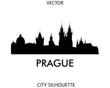 Prague Skyline Silhouette Vector Of Famous Places