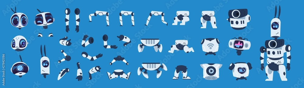 Fototapety, obrazy: Robot elements. Cartoon android character animation set, futuristic machine constructor with different poses. Vector isolated futuristic cybernetic objects on blue background