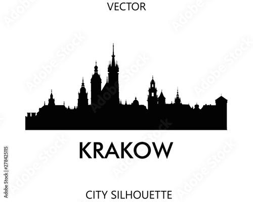 Fototapeta Krakow skyline silhouette vector of famous places obraz
