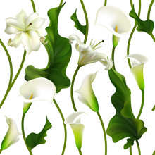 Flowers. Floral Background. Seamless Pattern. Callas. Lilies. Green Leaves. White.