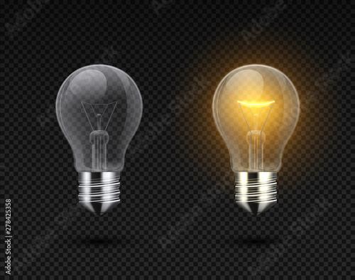 Obraz na plátně Realistic light bulb