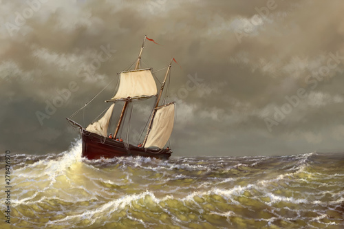 Oil paintings sea landscape, digital art, old sailing boat on the sea Tablou Canvas