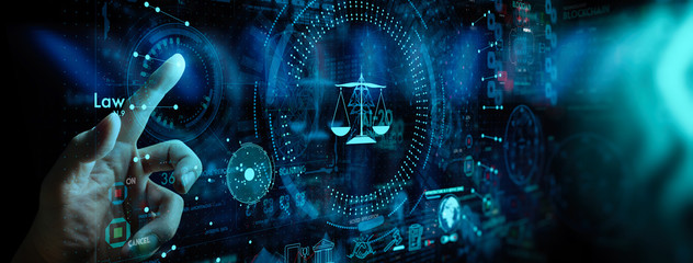 Legal advice technology service concept with business hand working with modern Ui computer.