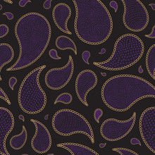 Vector Seamless Abstract Paisley Pattern From Golden Chains And Purple Stitches On A Black Background. Luxury Dark Batik Fashion Ornament, Wallpaper, Wrapping Paper, Bohemian Textile Print, Silk Shawl