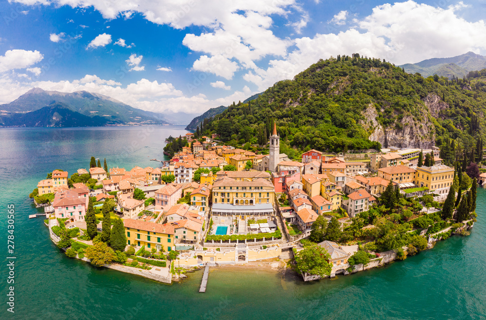 Fototapety, obrazy: Beautifull aerial panoramic view from the drone to the Varenna - famous old Italy town on bank of Como lake. High top view to Water landscape with green hills, mountains and city in sunny summer day.