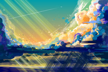 Color, Hand-drawn Image Of Thunder Clouds And A Flying Plane In The Blue Sky. Sunset On The Sea.