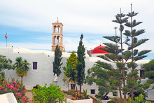 Famous Panagia Tourliani Monastery, In The Village Of Ano Mera, In The Center Of Mykonos, Beautiful Cycladic Island In The Heart Of The Aegean Sea