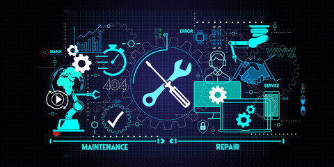 Maintenance and repair about assistance and servicing of equipments on blue background