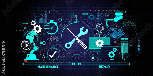 Fototapeta Maintenance and repair about assistance and servicing of equipments on blue background obraz