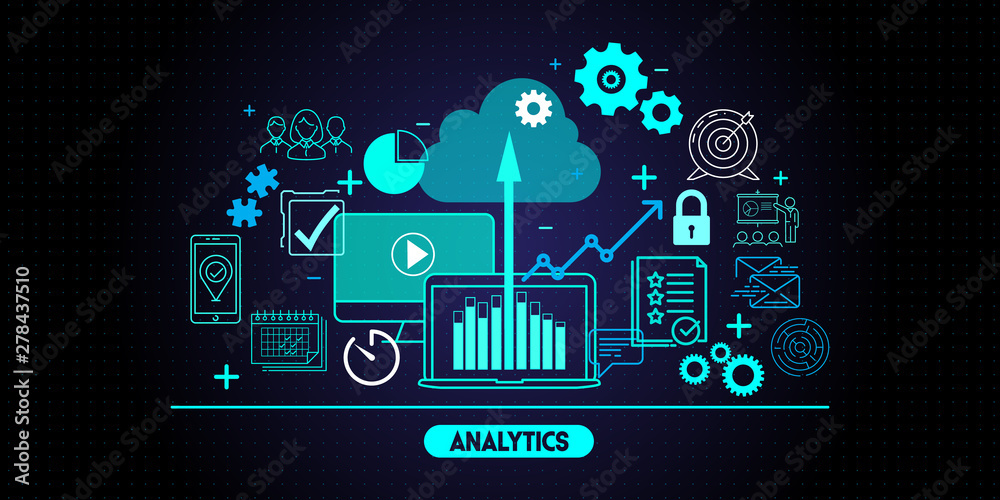 Fototapeta Business data analytics process management with KPI financial charts and graph and automated marketing dashboard.