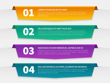 Tabbed Labels. Color Infographic Banners Leaflet Template, Infographics Numbered Ribbon Tags With Text. 3d Info Report Vector Timeline