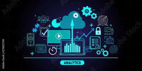 Fototapeta Business data analytics process management with KPI financial charts and graph and automated marketing dashboard. obraz
