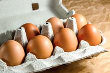 Seven Brown Chicken Eggs In A ...