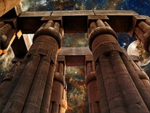 Luxor Temple, Moon And Tarantula Nebula (Elements Of This Image Furnished By NASA)