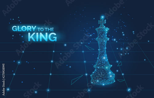 Fotografia, Obraz glory to the king sign and low poly chess king on chess board, business strategy and leadership symbol dark vector illustration