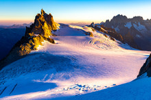 Aiguille Du Midi Mountain Ridge Sunrise View.