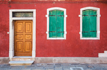 Colorful House In Mediterranean, Burano, Italy