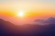 View from the mountain of Moses, a beautiful sunrise in the mountains of Egypt