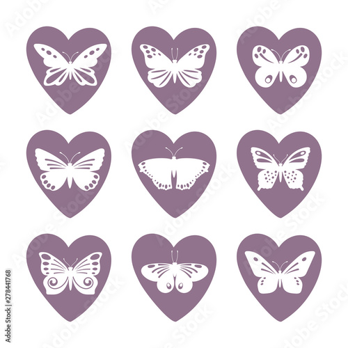 Fototapeta  Heart icons with lace butterfly silhouettes vector set