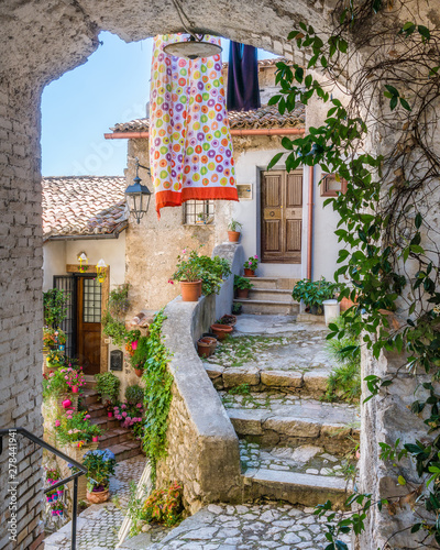 Garden Poster Narrow alley Scenic sight in Artena, old rural village in Rome Province, Latium, central Italy.