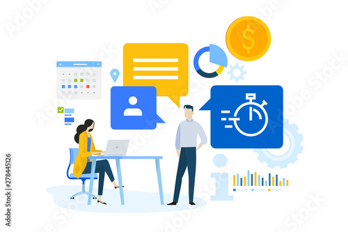 Flat Design Concept Of Business Management Software Data Analysis Task Management Vector Illustration For Website Banner Marketing Material Business Presentation Online Advertising Buy This Stock Vector And Explore Similar Vectors At