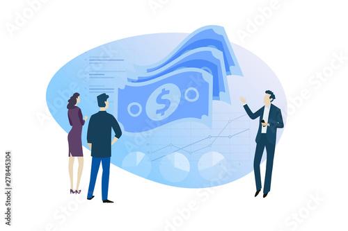 Fototapeta Flat design concept of financial advisor, investment, money market, forex trading. Vector illustration for website banner, marketing material, business presentation, online advertising. obraz