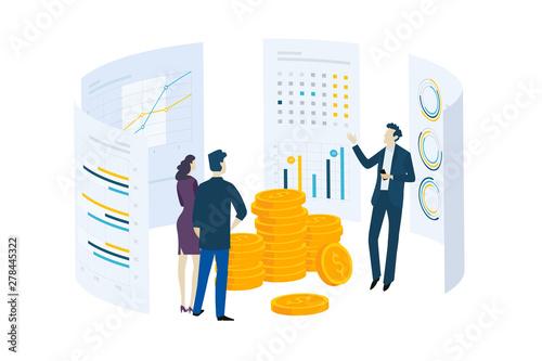 Fototapeta Flat design concept of investment, stock exchange, finance, consulting. Vector illustration for website banner, marketing material, business presentation, online advertising. obraz