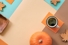 Autumn Background, Coffee And Decorations On Geometric Paper Background With Copy-space
