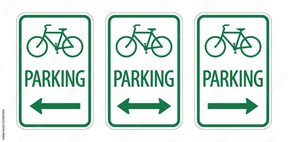 Fototapeta Green bike parking zone sign vector icon
