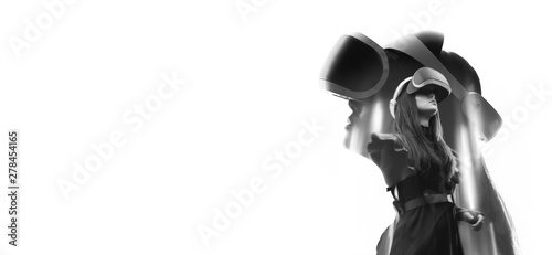 Double exposure of female face. Abstract black and white woman portrait. Digital art. Girl in glasses of virtual reality. Augmented reality, science, future technology, robots and people concept. VR.