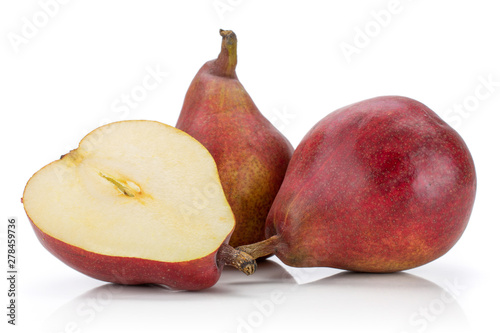 Group of two whole one half of fresh dark red pear anjou isolated on white backg Wallpaper Mural