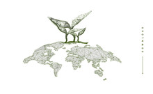 World Map With Grass Sprout . Polygonal Wireframe Composition. Ecology Planet Concept. Abstract Illustration Isolated On White Background. Particles Are Connected In A Geometric Silhouette.