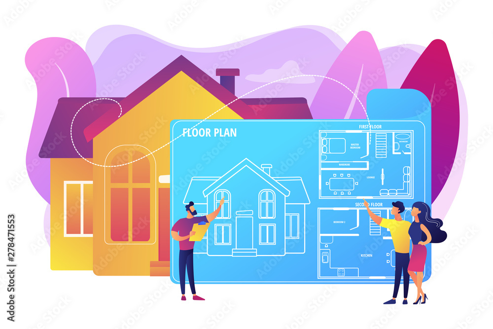 Fototapety, obrazy: House architecture plan with furniture. Interior design. Real estate floor plan, floor plan services, real estate marketing concept. Bright vibrant violet vector isolated illustration