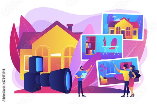 Aluminium Prints Wild West Couple choosing apartment. Real estate photography, property photography services, photography for realtors and advertisement concept. Bright vibrant violet vector isolated illustration