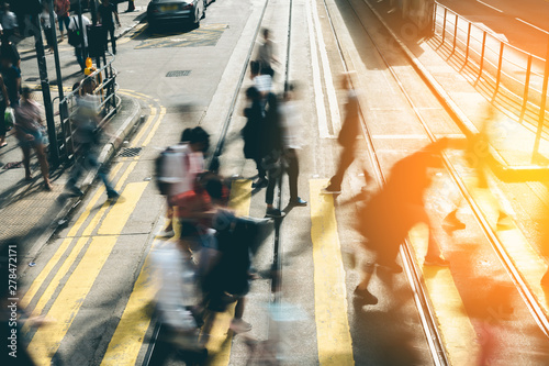 Pedestrian crossing at Busy City with sunlight - 278472171