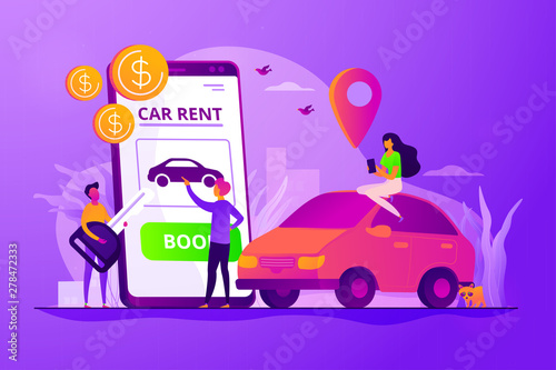 Spoed Foto op Canvas Cartoon cars Car rent, automobile leasing. Clients choosing personal transport. Auto dealership. Rental car service, budget car rental, online car booking concept. Vector isolated concept creative illustration