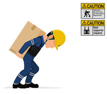 An Industrial Worker Is Carrying A Big Paper Crate On His Back