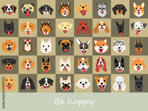 smile dog illustrations background set
