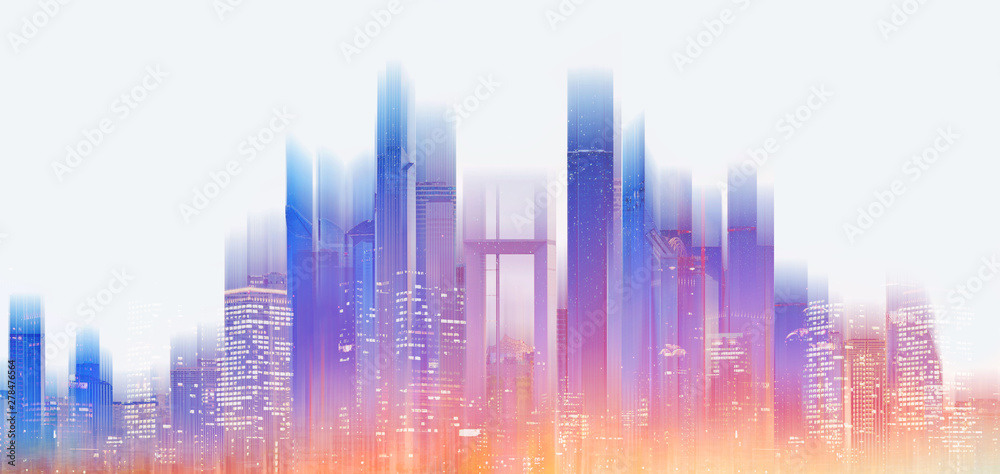 Fototapeta Futuristic modern building with bright and glowing colorful light, on white background