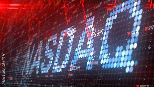 Fototapeta The Nasdaq Stock Market American stock exchange index chart - Conceptual graphic 3D illustration rendering obraz