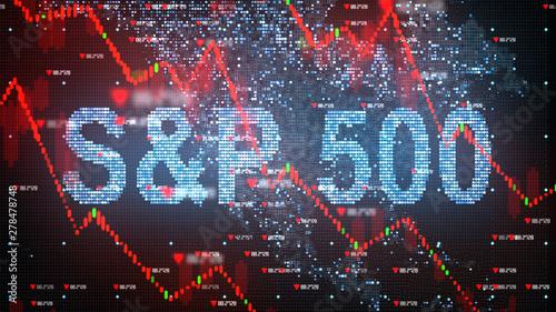 S&P 500 stock market index chart - Conceptual graphic 3D illustration rendering Canvas Print