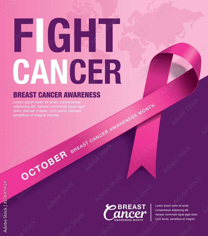 Fototapeta Breast Cancer Awareness Month poster design with pink ribbon