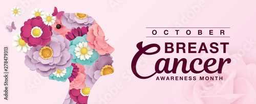 Fotografía  Breast Cancer Awareness Month poster design with silhouette of woman's head and