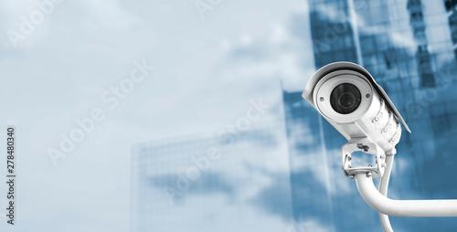 Obraz CCTV camera in the city with copy space - fototapety do salonu