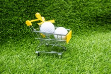 Shopping Gift For Golfer With Golf Balls In Trolley