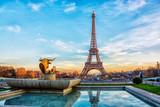 Fototapeta Fototapety Paryż - Eiffel Tower at sunset in Paris, France. Romantic travel background